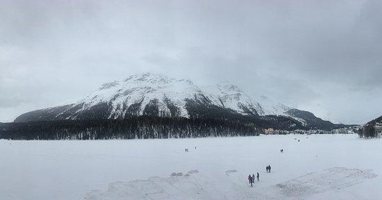 Bernina Express: Lej (Lake) da San Murezzan, all frozen - St. Mortiz - Switzerland.