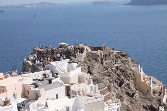 Byzantine Castle Ruins: The Byzantin castle on a rock in Oia