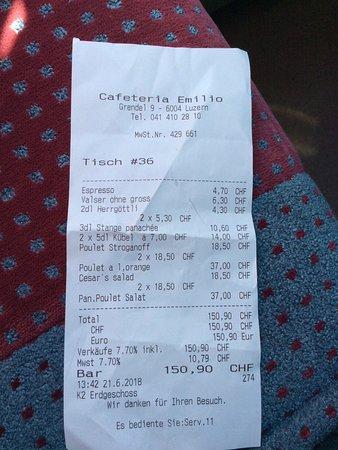 Cafeteria Emilio: Mismo precio euros que francos suizos