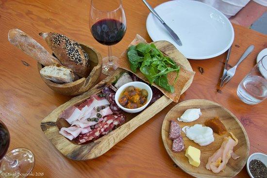 Stellenbosch, Sudáfrica: Charcuterie platter at Bread & Wine at the Moreson vineyards.