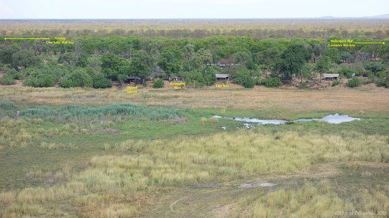 Linyanti Reserve, Botsuana: Annotated View of the Camp
