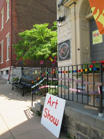 """Yarn bombing"" decorations outside the Bellefonte Art Museum"