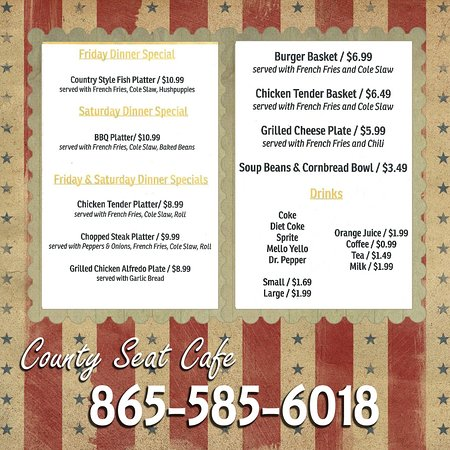 Tazewell, TN: Menu Page two of two