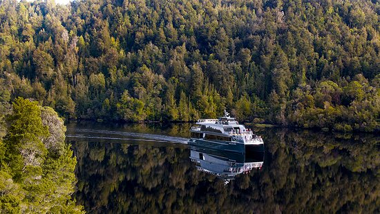 Gordon River Cruises: Spirit of the Wild cruising the Gordon River on her electric motors.