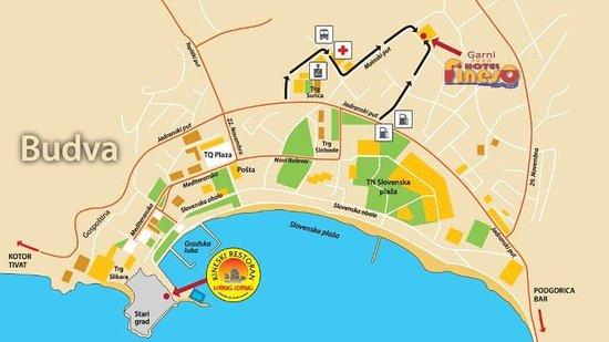 Map Picture Of Garni Hotel Fineso Budva Tripadvisor