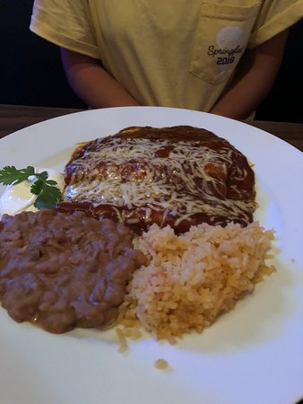 Enchilada Dish I Think With Rice And Beans Picture Of La Cocina