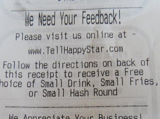Onley, VA: survey on receipt