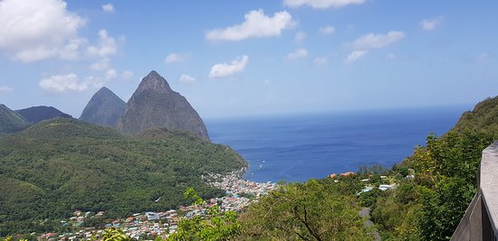 Castries Quarter, St. Lucia: A spectacular view overlooking the Soufriere village and world-renowned Pitons