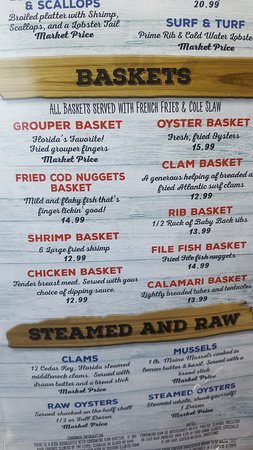 Captain Curt's Crab & Oyster Bar: Menu 1 of 8 - 2018