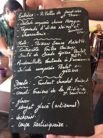 La Riviere-Saint-Sauveur, France: Menu