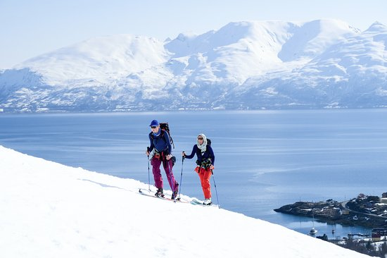Selkirk Mountain Experience Lodge: Durrand Glacier: Skiing above a fjord on our annual, guided Norway trip.