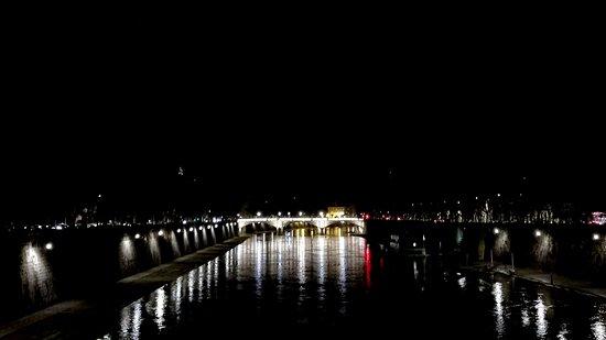 Ponte Mazzini at night from Ponte Sisto