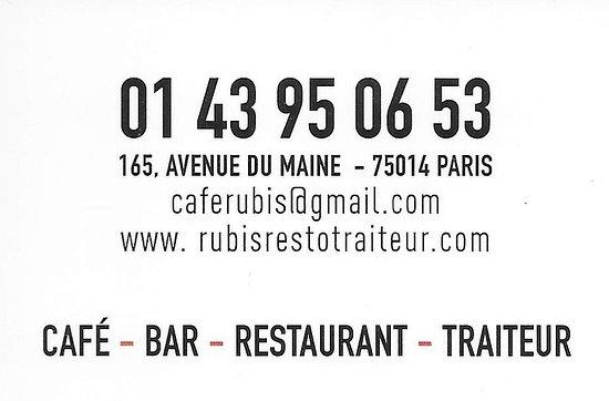 Cafe Rubis Le Verso De La Carte Visite