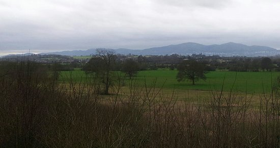 Worcester, UK : The Ketch Viewpoint from which you can see the entire range of the Malvern Hills