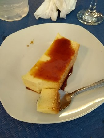 Homemade flan with caramel sauce