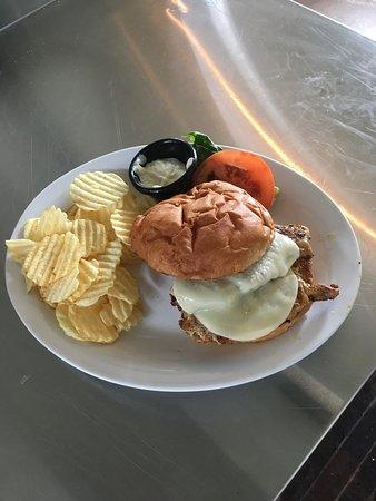 Fredericktown, Missouri: A new Blackened Pork Chop Sandwich.  Awesome!