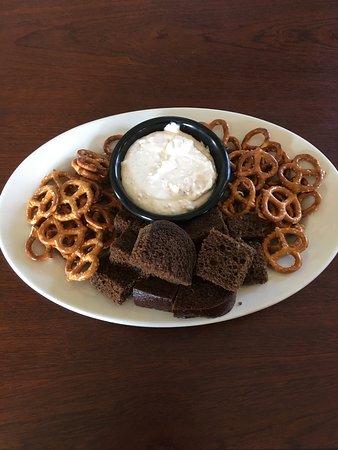 Fredericktown, Missouri: Spicy Olive Dip with pretzels and pumpernickel.