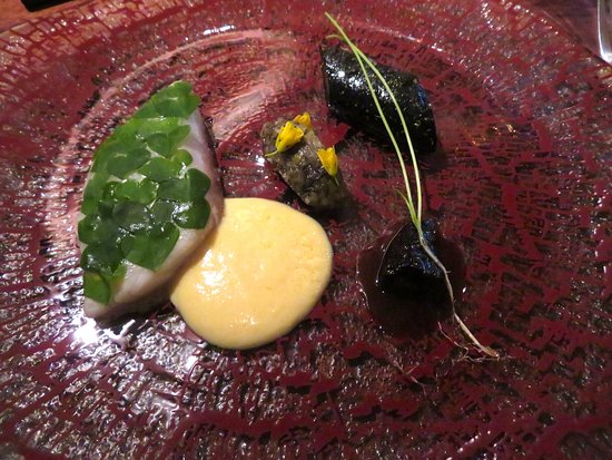 Atelier Crenn: Striped bass, boudin noir & morel