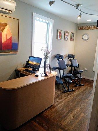 Ptown Massage + Bodywork: Desk and chair massage area