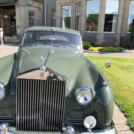 Classic Rolls gracing entrance to Gleneagles.  Driver service to nearby village or sights.