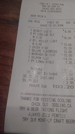 Doolin's Irish Pub: conta
