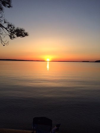 Elijah Clark State Park: the view from my tent at sunset