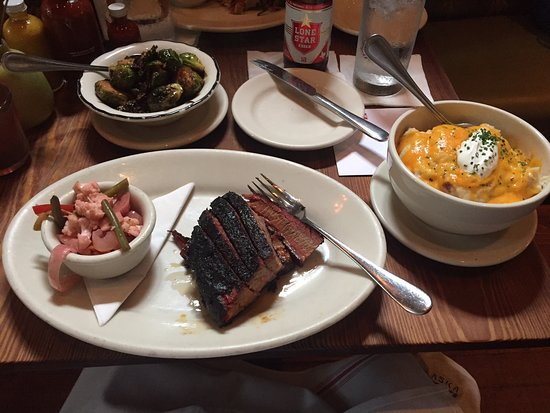 Lamberts Downtown Barbecue: Beef Brisket, Creamy Mashed Potatoes, and Brussell Sprouts