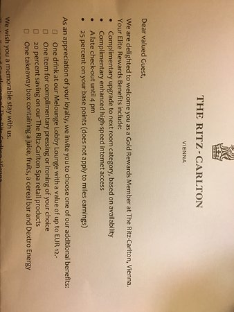 The Ritz-Carlton, Vienna: Gold Member welcome letter