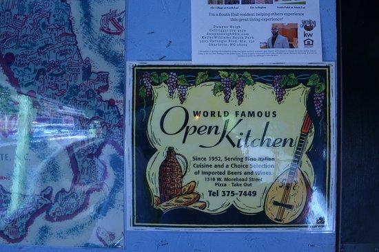 Open Kitchen: Sign at Door