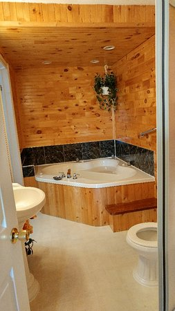 Avalon Wilderness Cottages: Larger of the two cabins, which includes a jacuzzi tub and fireplace.