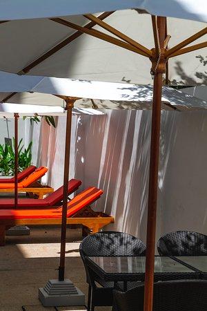 Sleep Pod Hostel: Pool with Sun Bed