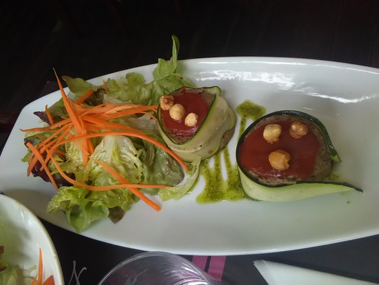 Brasserie Les Varietes: interesting appetizer - that is an egg plant puree wrapped with zuchinni
