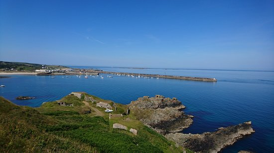 Alderney, UK : View from Victorian Fort Albert over Braye Bay/harbour