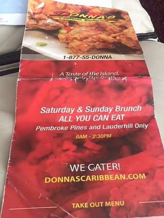 Donna's Caribbean Restaurant: Take Away Menu Cover page