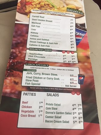 Donna's Caribbean Restaurant: Take Away Menu Page 1