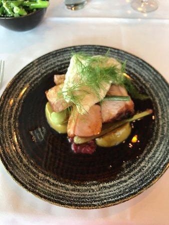 Jack Rabbit Vineyard: Pork loin with baby leeks