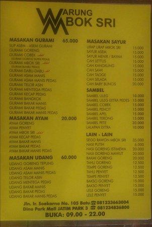 Menu Makanan Picture Of Warung Mbok Sri Batu Tripadvisor