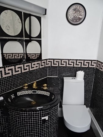 Baskerville Hall Hotel: The ensuite loo avec missing mosaic