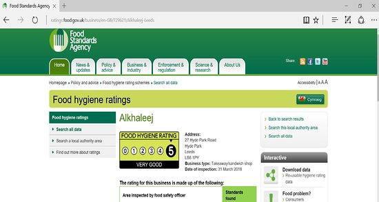 5 Stars Out Of 5 Stars In Health And Safety Food Hygiene