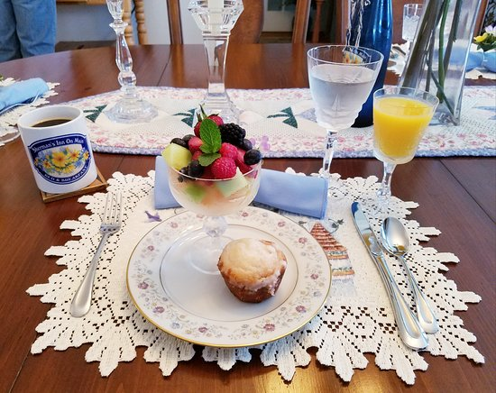 Sherman, NY: 1 of 3 course breakfast meal. Fresh fruit and berry muffin.