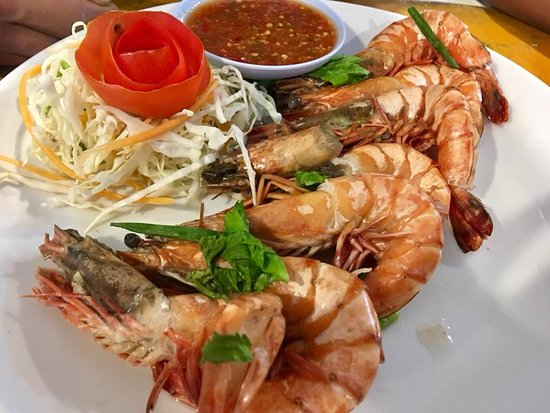Andaman Aussie: Steamed Tiger Prawns with sweet basil leaves