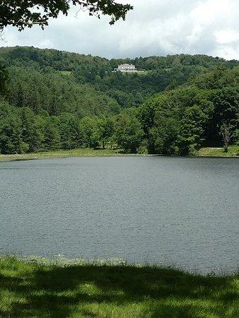 Moses H. Cone Memorial Park: Looking at Cone Manor above Bass Lake