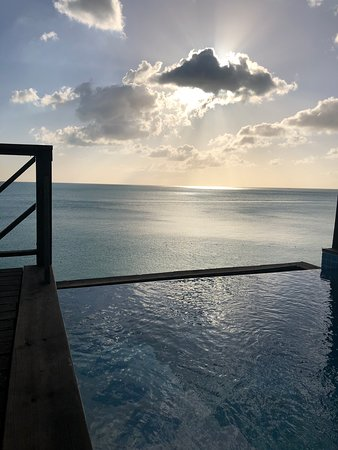 COCOS Hotel Antigua: Sunset view from out deck/pool.