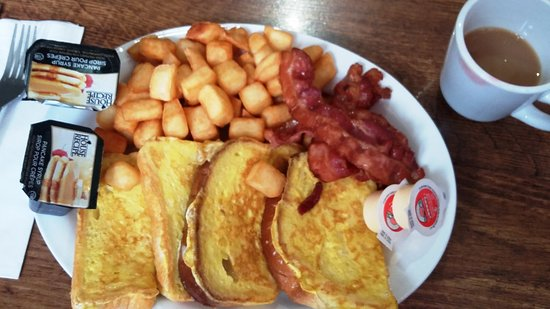 Coal Miners Cafe: French Toast mit Bacon und Pommes frites.