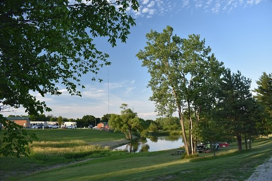 Adel, IA: Pond with paddleboats