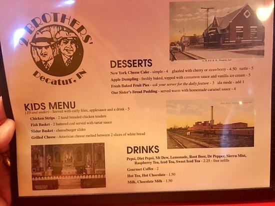 Decatur, IN: Two Brother's Menu