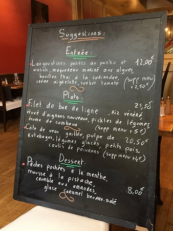 L' AOC: Board with specials of the day