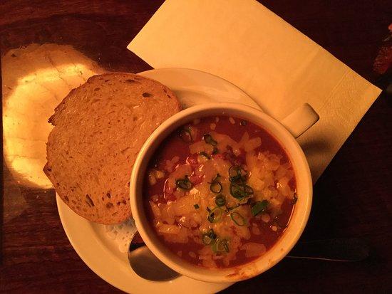 Yellow Deli: chilli bean stew with home made bread ,