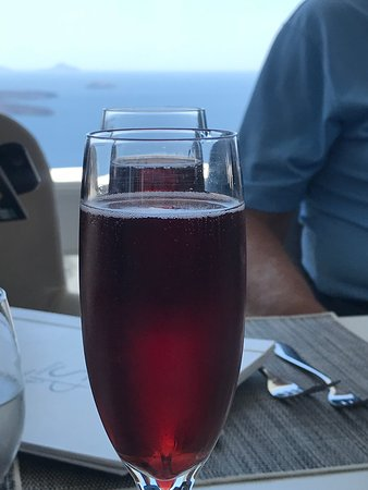Santorini Princess: Welcome drink. See the sea in the background?!