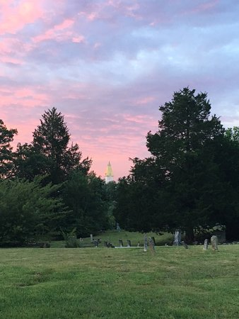 Dahlonega Walking Tours Historic Ghost Walk: Old Dahlonega cemetery and view to UNG building.